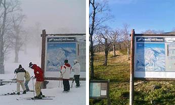 DECO山頂駅舎前の秋と冬